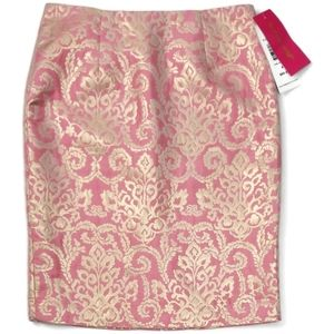 Sunny Leigh Pink Gold Pencil Skirt Sz 6 NWT